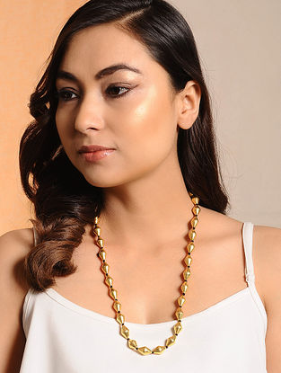 Gold Tone Dholki Beaded Silver Necklace