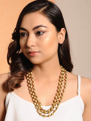 Multi-String Gold Tone Dholki Beaded Silver Necklace