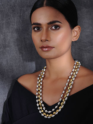 Multi-String Dual Tone Dholki Beaded Silver Necklace
