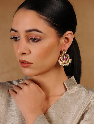 Pink Glass Kundan-inspired Gold Tone Silver Earrings