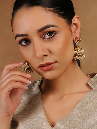 Kundan-inspired Gold Tone Silver Jhumkis with Pearls