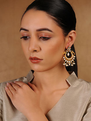 Kundan-inspired Gold Tone Silver Earrings with Pearls