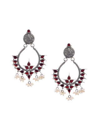 Red Glass Silver Earrings with Pearls