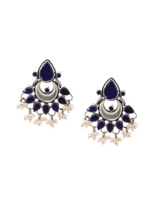 Blue Glass Silver Earrings with Pearls