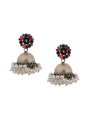 Red Glass Silver Jhumkis with Pearls