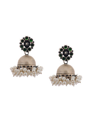 Green Glass Silver Jhumkis with Pearls