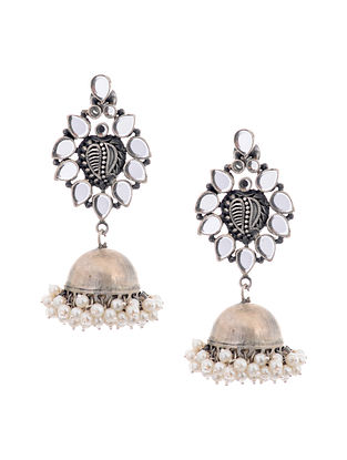 Glass Silver Jhumkis with Pearls