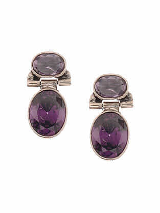Purple Silver Earrings
