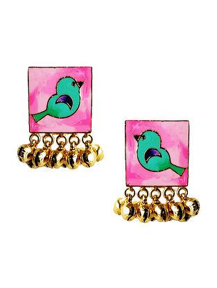 Pink Birdie Enameled Gold-Plated Brass Ghunghroo Earrings