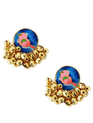 Blue Birdie Enameled Gold-Plated Brass Ghunghroo Earrings