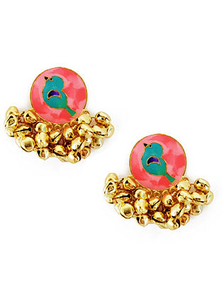 Peach Birdie Enameled Gold-Plated Brass Ghunghroo Earrings
