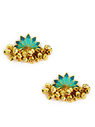 Turquoise Lotus Enameled Gold-Plated Brass Ghunghroo Earrings