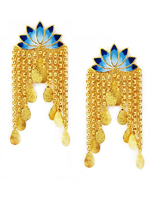 Glorious Lotus Blue Enameled Gold-Plated Brass Earrings