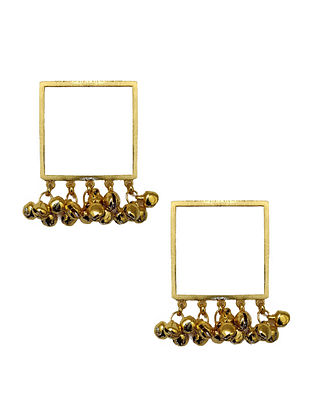 Classic Square Enameled Gold-Plated Brass Ghunghroo Earrings