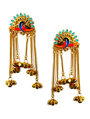 Peacock Multi-Colored Enameled Gold-Plated Brass Ghunghroo Earrings