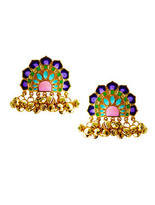 Jaipur Multi-Color Enameled Gold-Plated Brass Ghunghroo Earrings