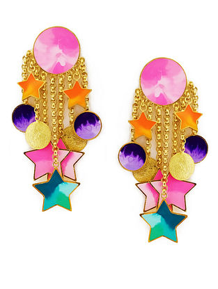A Sea of Stars Pink-Blue Enameled Gold-Plated Brass Earrings