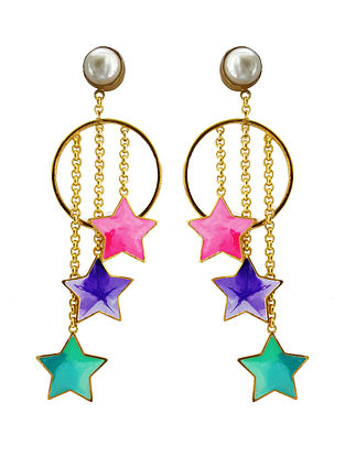 Stars and Pearl Multi-Color Enameled Gold-Plated Brass Earrings