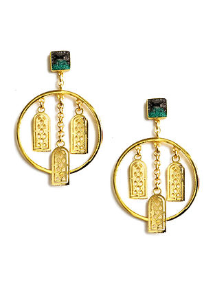 City Skies Black-Green Enameled Gold-Plated Brass Earrings