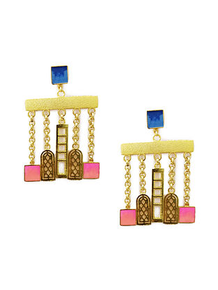 Skyline Pink-Blue Enameled Gold-Plated Brass Earrings