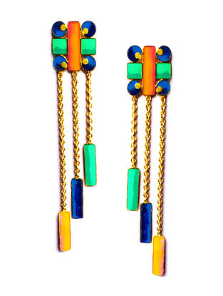 Geometric Multi-Color Enameled Gold-Plated Brass Earrings