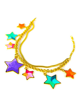 Stars Charm Multi-Color Enameled Gold Plated Brass Adjustable Bracelet