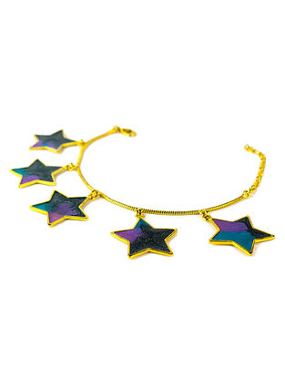 Stardust Charm Black-Blue Enameled Gold Plated Brass Adjustable Bracelet
