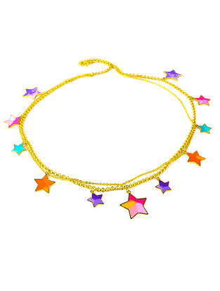 Starry Nights Multi-Color Enameled Gold Plated Brass Necklace