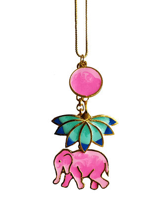 Elephant Lotus Pink-Blue Enameled Gold Plated Brass Necklace