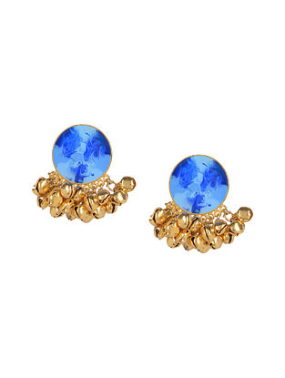 Dark Blue Enameled Gold Plated Brass Ghunghroo Earrings
