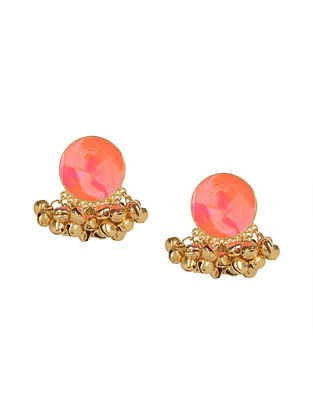 Peach Enameled Gold Plated Brass Ghunghroo Earrings