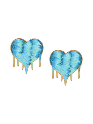 Turquoise Heart Enameled Gold Plated Brass Earrings