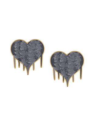 Grey Heart Enameled Gold Plated Brass Earrings