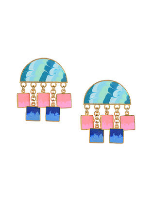 Geometric Enameled Gold Plated Brass Earrings