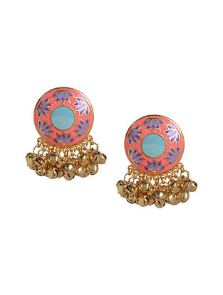Peach Lotus Enameled Gold Plated Brass Ghunghroo Earrings