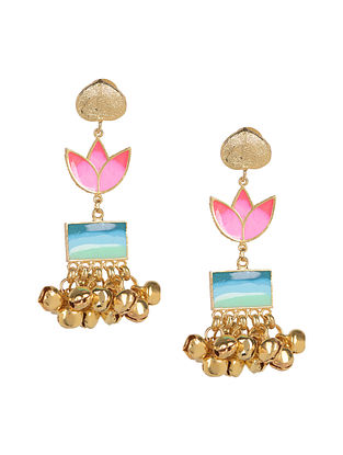 Golden Waterfall Enameled Gold Plated Brass Ghunghroo Earrings