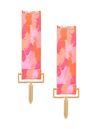 Peach Paint Roller Enameled Gold Plated Brass Earrings