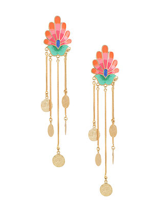 Peach Paradise Falls Enameled Gold Plated Brass Earrings