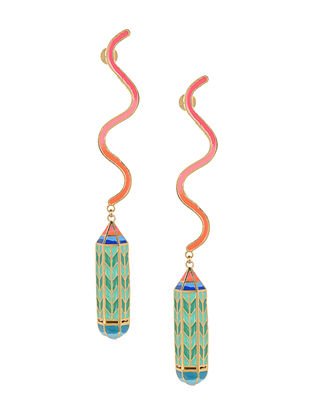 Green Pencil Daydream Enameled Gold Plated Brass Earrings