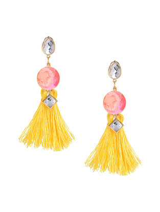 Pink Yellow Sunset Skies Enameled Gold Plated Brass Earrings