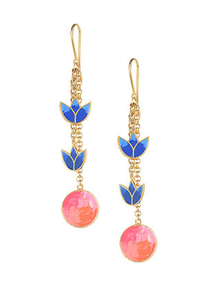 Blue Pink Tropical Enameled Gold Plated Brass Earrings
