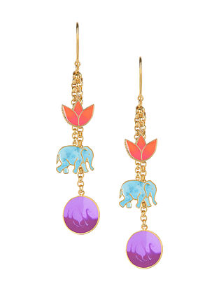 Blue Peach Elephant Lotus Enameled Gold Plated Brass Earrings