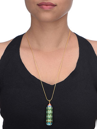 Green Pencil Daydream Enameled Gold Plated Brass Pendant Necklace