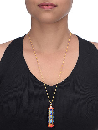 Blue Pencil Daydream Enameled Gold Plated Brass Pendant Necklace