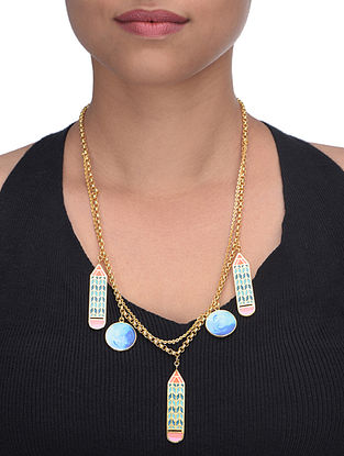 Multicolored Lets Make Art Enameled Gold Plated Brass Pendant Necklace