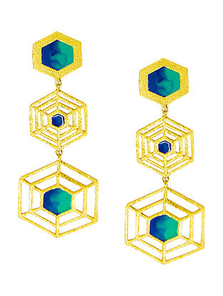 Hexagon Blue Enameled Gold-plated Brass Earrings
