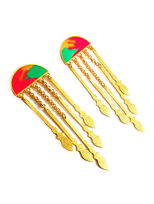 Tribal Spears Red-Green Enameled Gold-plated Brass Earrings