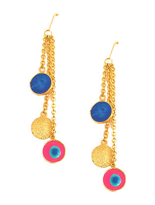 Color Carnival Blue-Pink Enameled Gold-plated Brass Earrings