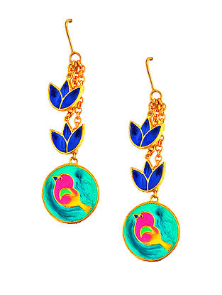 Bird and Flower Turquoise-Blue Enameled Gold-plated Brass Earrings