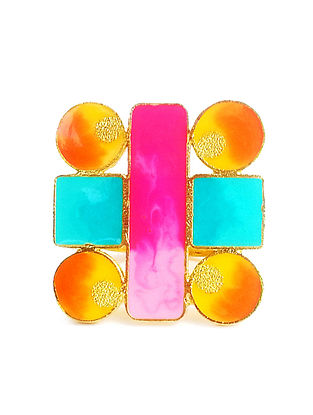 Geometric Pink-Orange Enameled Gold-plated Brass Adjustable Ring